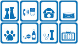 set blue icons goods with zoological products poster