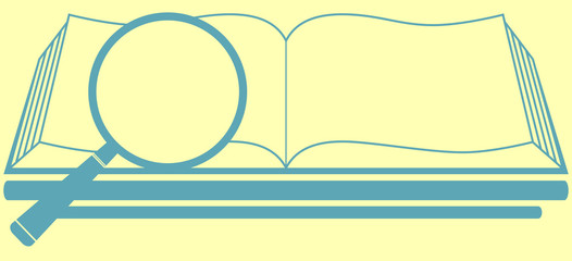 book and magnifier on pale yellow background - search symbol