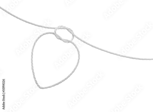 rope knot in the form of heart on white background