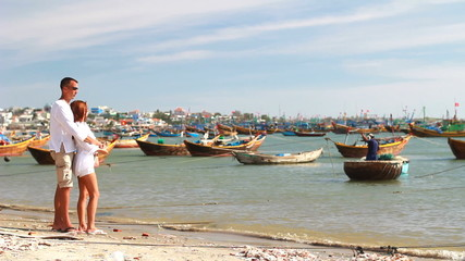 Fisherman's boats at the shore of Mui Ne, Vietnam