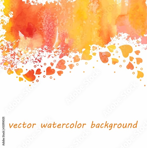 Watercolor heart background.