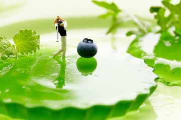 Miniature Figures playing golf on fruits