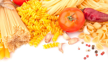 Different types of Italian pasta and spices, food ingredients