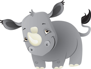 Cute cartoon baby rhino