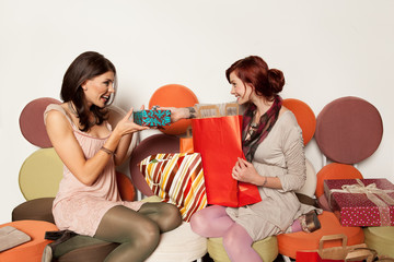 young girls with gifts