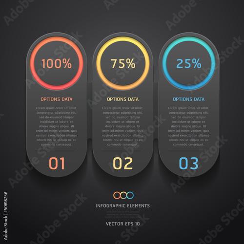 Modern black infographics banner. Vector illustration.