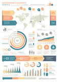 Clean Color Infographics Elements with World map and Information