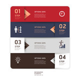 Modern arrow origami style step up options banner. Vector