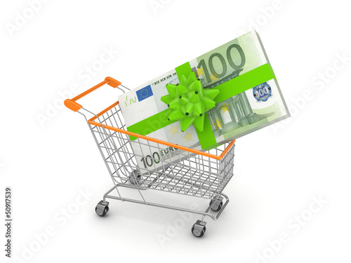 Stack of euro in a shopping trolley.