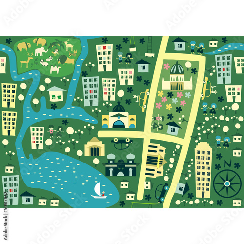 Spoed canvasdoek 2cm dik Op straat seamless cartoon map of australia