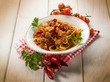 pasta with fish ragout and hot chili pepper