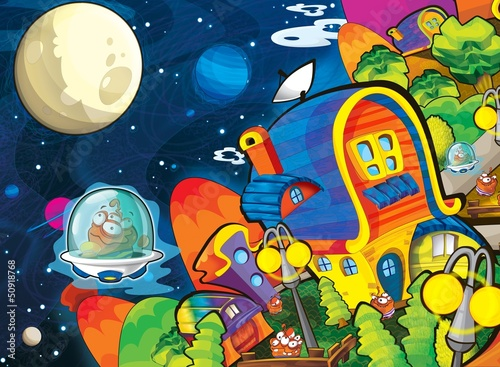 Papiers peints Cosmos The aliens theme - ufo - for kids