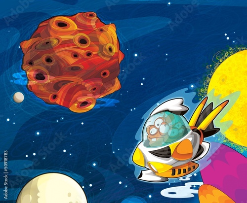 Foto op Aluminium Kosmos The aliens - ufo - for kids