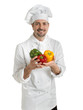 Chef with colorful peppers