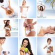 Healthy lefestyle: collage made of different elements