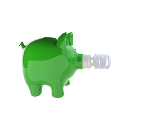 piggy bank with energy efficient light bulb