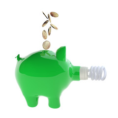 Euro coins falling into green piggy bank with energy efficient l