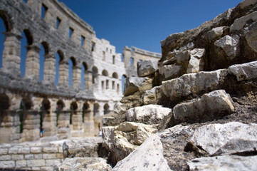 Stones of Roman amphitheater in Pula