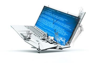 Zu Boden fallender Laptop