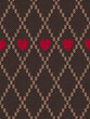 Style Seamless Red Brown Color Knitted Pattern with Heart