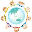 手をつなぐ子供たちと地球(黒線なしバージョン)