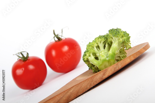 Ripe Broccoli Cabbage with tomatoes