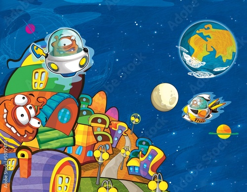 Fotobehang Kosmos The aliens - ufo - for kids