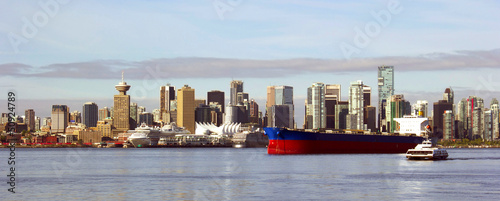 Vancouver Canada panoramic cityscape with ships