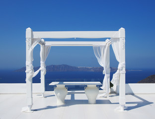 Beautiful wedding tent on Santorini island