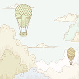 Abstract vector background with balloon and clouds