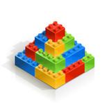 brick piramid meccano toy vector illustration isolated