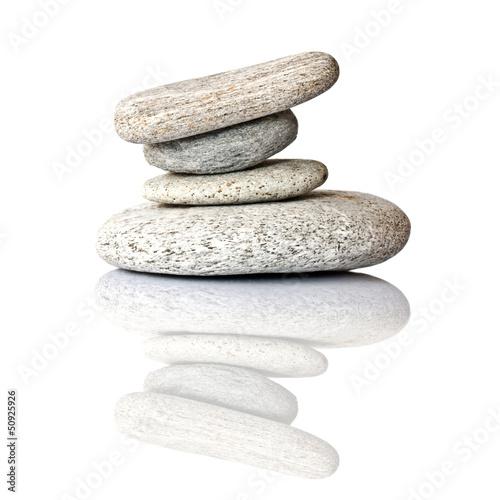 Leinwandbild Motiv Galets en équilibre, fond blanc