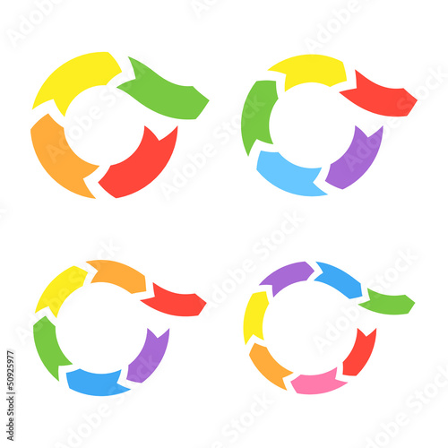 Color Circle Arrows Set. Vector
