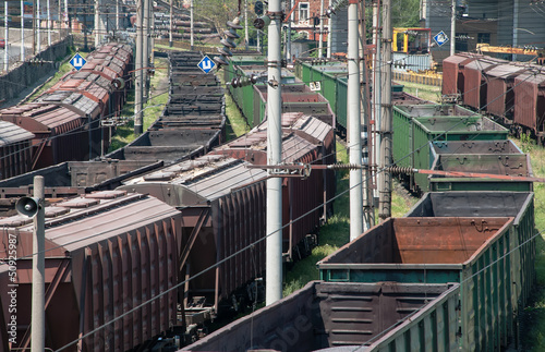 The cargo train with cars