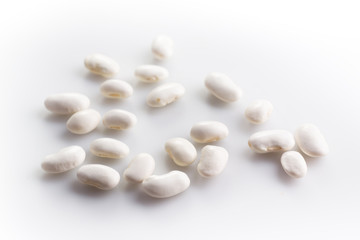 White haricot beans on white background
