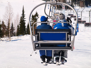 Peoples on the ski lift