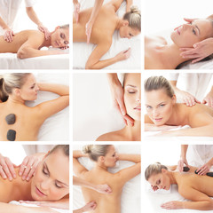 Spa collage: different types of massage isolated on white