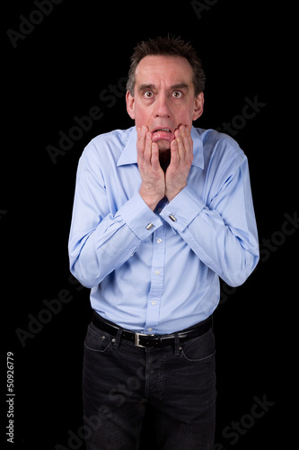 Shocked Terrified Business Man Pulling Face
