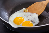Fried egg on a pan at The kitchen