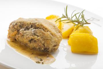 Juicy Crusted Pork Cheek. Gourmet Main Course