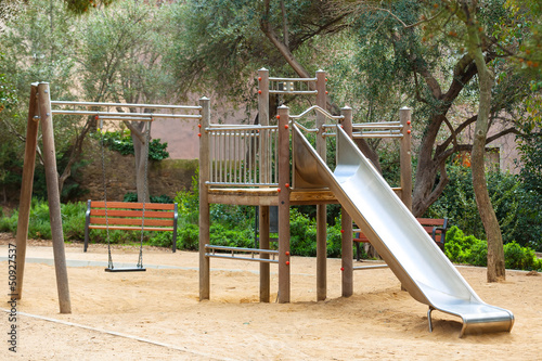 playground with metal slide