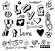 love doodles, hand drawn design elements