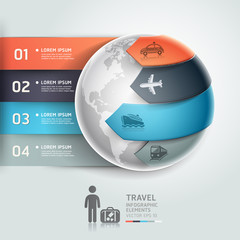 Abstract globe infographics travel transportation element