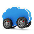 Cloud Computing Symbol on Wheels isolated on white background