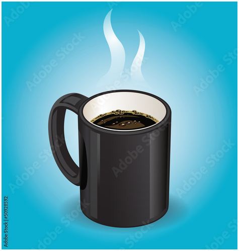 Black coffee cup on blue background
