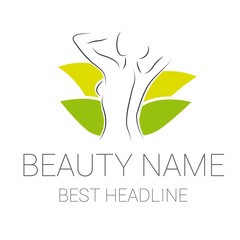 Beauty wellness logo vector green
