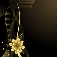 Black and gold flower background