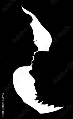 silhouette of kissing couple