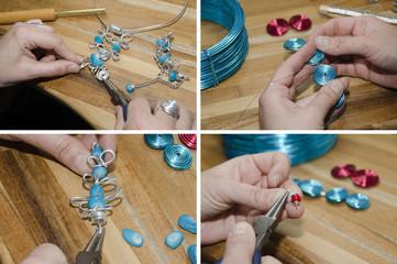 mains de femme créant des bijoux de mode