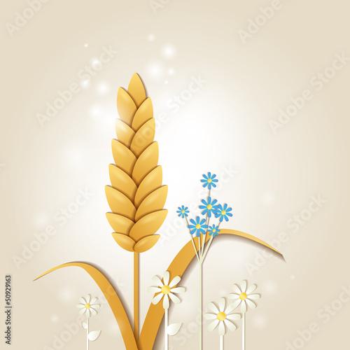 """""""u9baeu82b1""""]剪贴画夏天小麦折纸文件新鲜明亮的春天植物登录礼物"""
